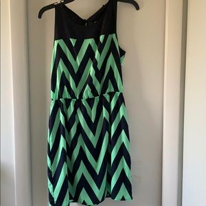 Aqua chevron navy and mint dress with an open back